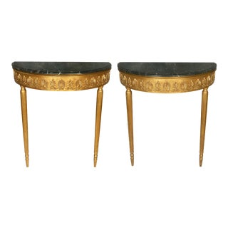 Pair of Giltwood Louis XV Style Marble Top Demilune Consoles For Sale