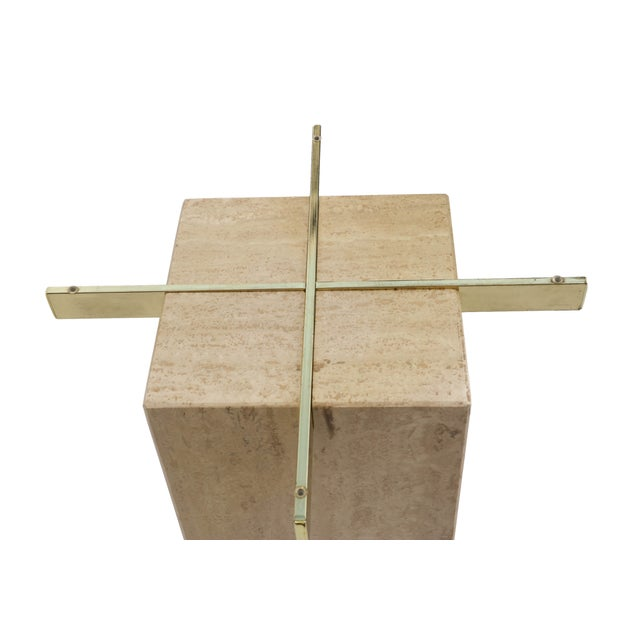 Travertine Brass & Glass End Table - Image 6 of 10