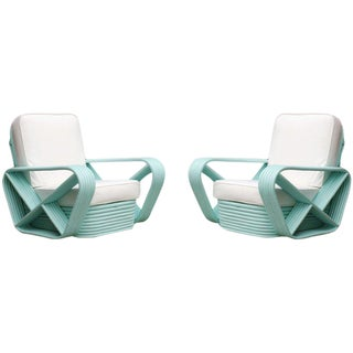 Restored Teal Square Pretzel Stacked Rattan Armchair Pair in Style of Paul Frankl For Sale