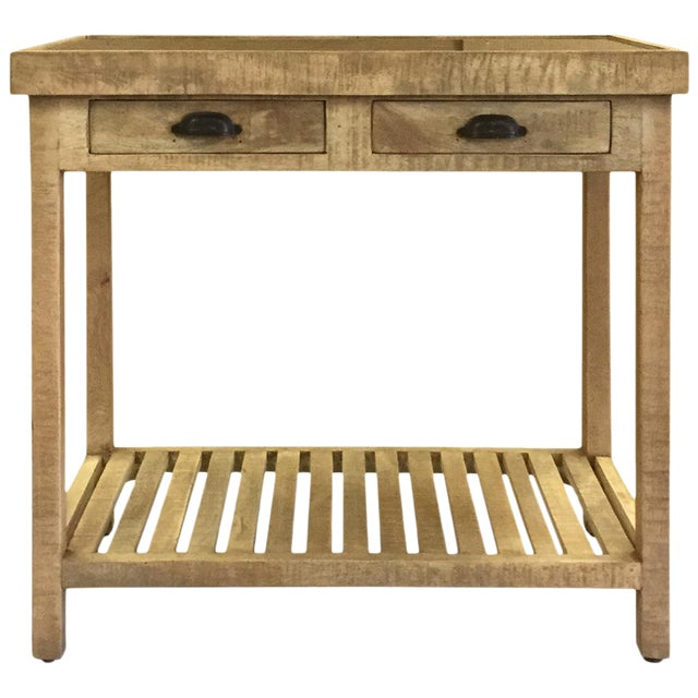 Two Drawer Mango Wood Console Table With Marble Top For Sale