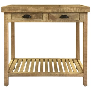 Two Drawer Mango Wood With Marble Top Console Table