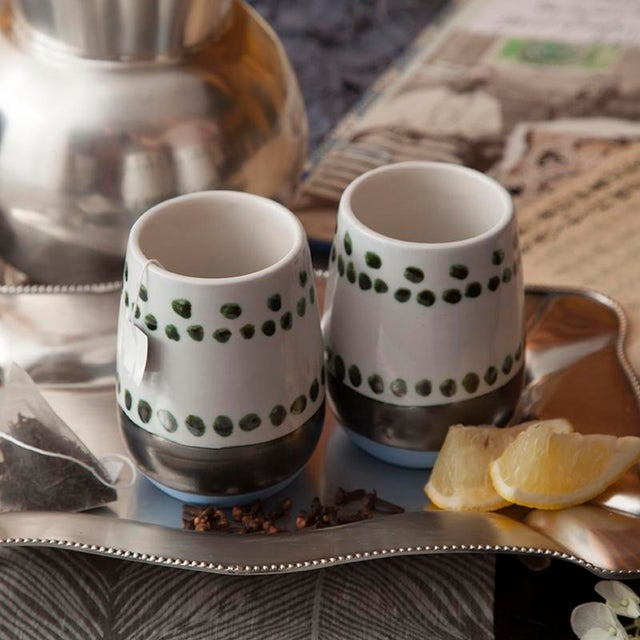 Maya Hand Painted Ceramic Mugs (set of two) For Sale In Chicago - Image 6 of 7