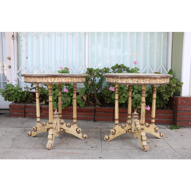 Paint 1950s Campaign Carved and Hand Painted Tall Center Tables - a Pair For Sale - Image 7 of 12