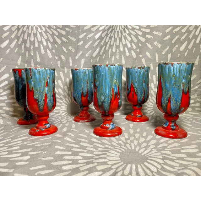 Boho Chic 1970s Vintage Hand-Crafted Blue & Red Drip Glaze Ceramic Pottery Footed Mugs- Set of 6 For Sale - Image 3 of 8