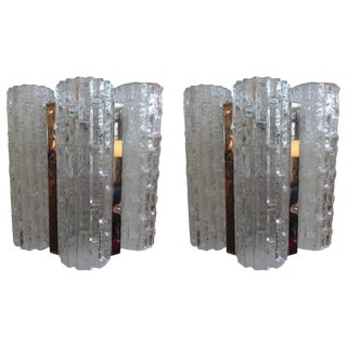 Murano Glass & Chrome Sconces - a Pair