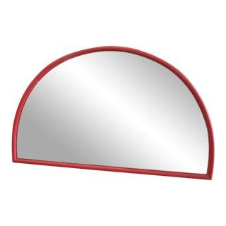Red Half Moon Thayer Coggin Rattan Mirror For Sale