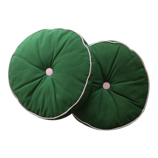 A Pair of Pink & Green Round Accent Pillows
