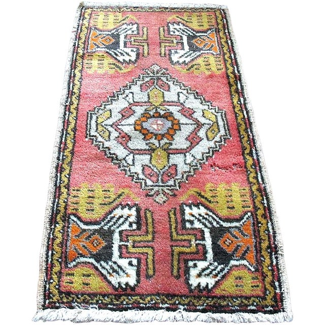 "Pink Vintage Turkish Rug - 1'8"" x 3'2"" - Image 1 of 7"