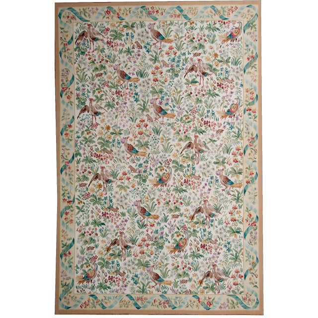 """French Pasargad Aubusson Hand Woven Wool Rug - 8' 0"""" X 10' 1"""" For Sale - Image 3 of 3"""