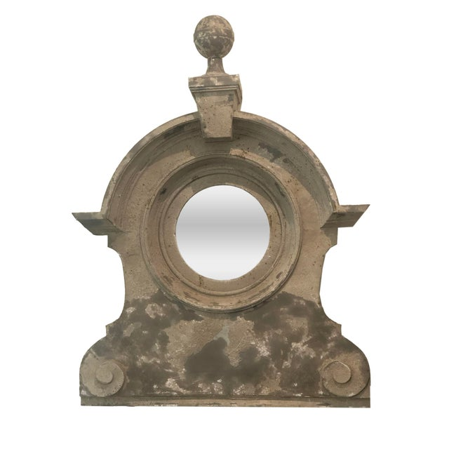 Gray 19th Century French Zinc Oeil De Boeuf Mirror For Sale - Image 8 of 8