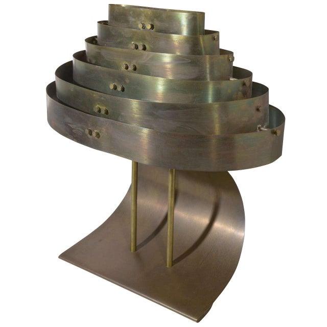 Gold Art Deco Machine Age Kurt Versen Bronzed Streamline Table Lamp For Sale - Image 8 of 8