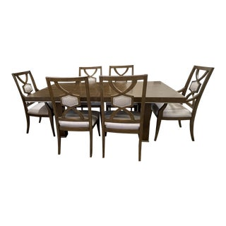 Thomasville Furniture Retrospect Tamar Walnut Dining Table and Chairs For Sale