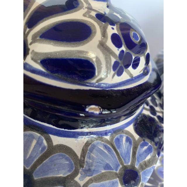 Vintage Mexican Hand Painted 'Amora' Talavera Pottery Canister Set With Lids - Set of 3 For Sale - Image 9 of 13