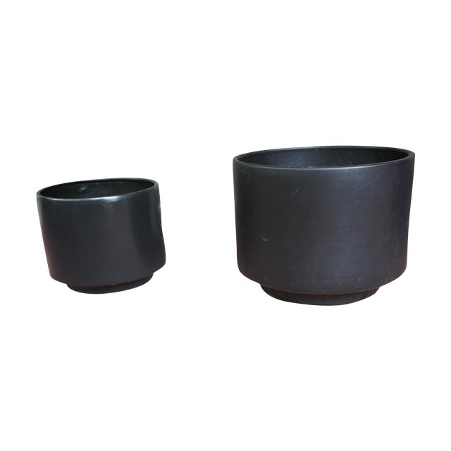 Gainey Style Graphite Gray Planters - A Pair - Image 1 of 9