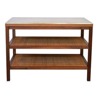 Paul McCobb Calvin Walnut, Leather, Brass, & Cane Side Table For Sale
