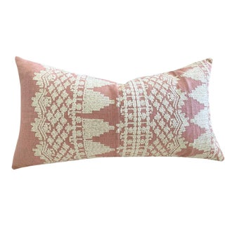 Schumacher Embroidered Linen Pillow in Rose For Sale