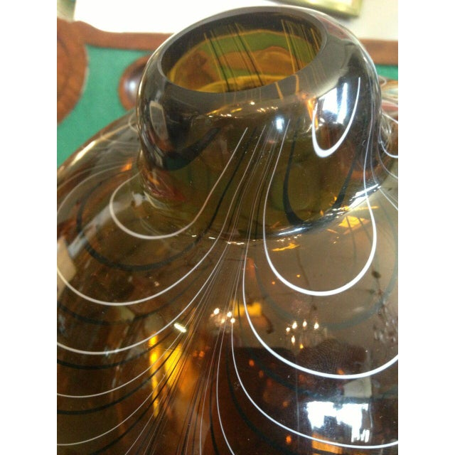 2004 Large Italian Alberto Dona Murano Hand Blown Swirled Art Glass Bottle Vase For Sale - Image 10 of 13