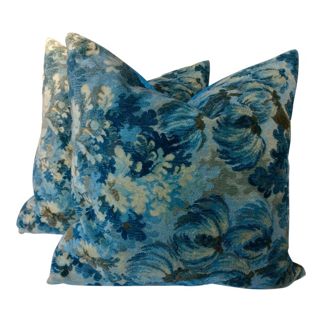 """Brunschwig and Fils """"Great Ming"""" Twilight Velvet Pillows - a Pair For Sale"""