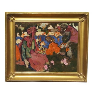 Casbah Bazaar by Edmund Ward Mid-Century Modern Oil on Board Painting, Framed For Sale