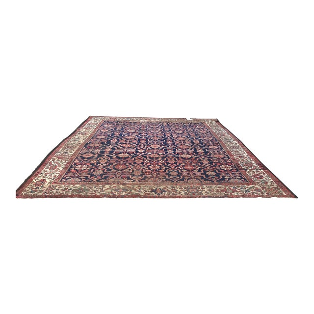 Vintage Design Decorative Blue Background Color Mahal Rug- 9′5″ × 13′5″ For Sale