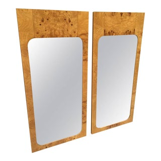 Pair of Burl Wood Mirrors For Sale