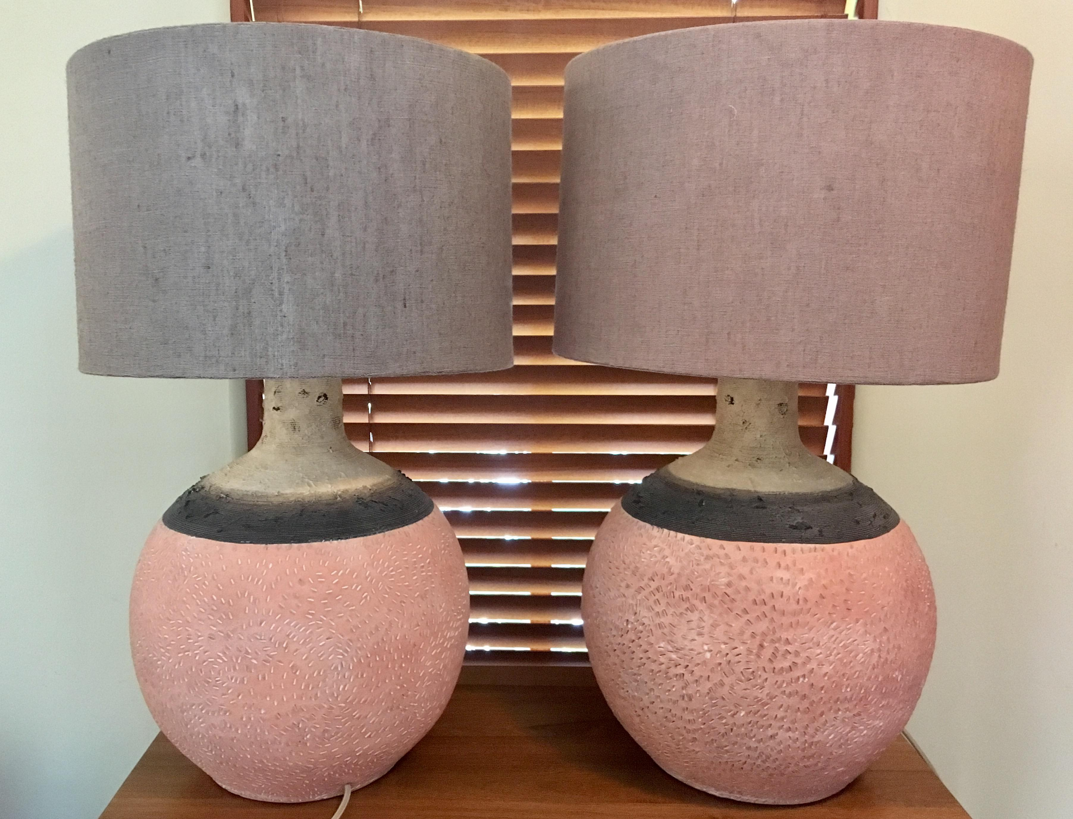 Anthropologie Hand Painted Earthenware Lamps   A Pair   Image 2 Of 4