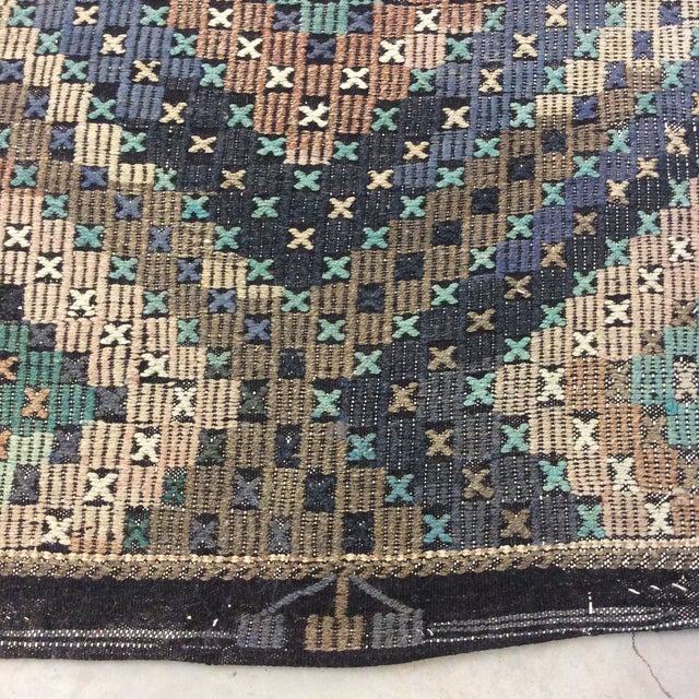 "Black 1960's Turkish Sumac Kilim - 6'x11'6"" For Sale - Image 8 of 13"