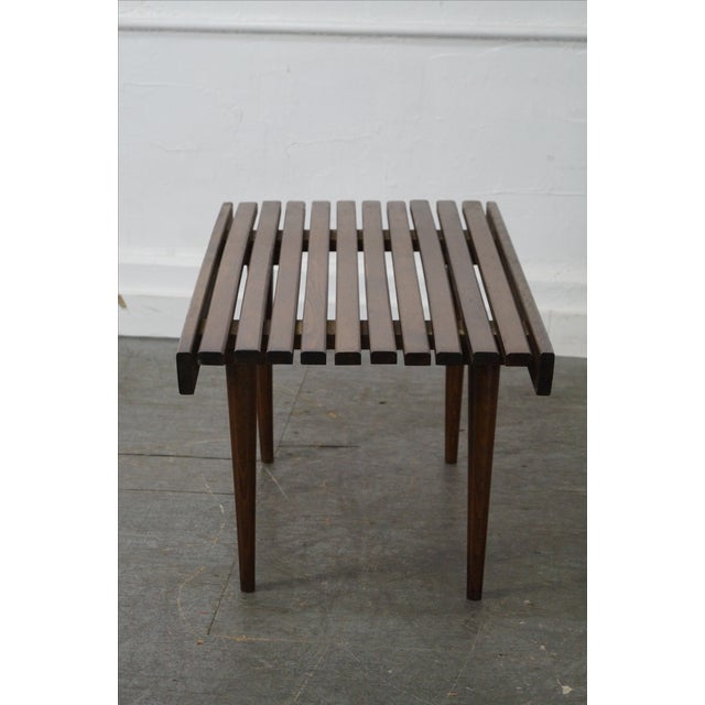 Mid-Century Modern Slat Tables / Benches - Pair - Image 5 of 10