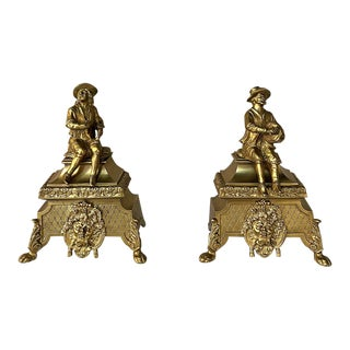 Pair 19th Century Bronze Andiron Bookends For Sale