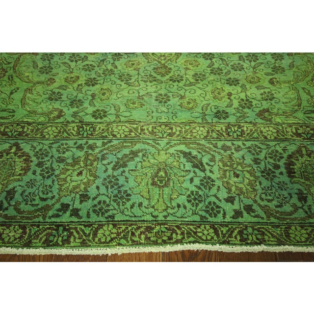 "Lime Green Overdyed Tabriz Area Rug - 9'5"" x 12' - Image 5 of 10"