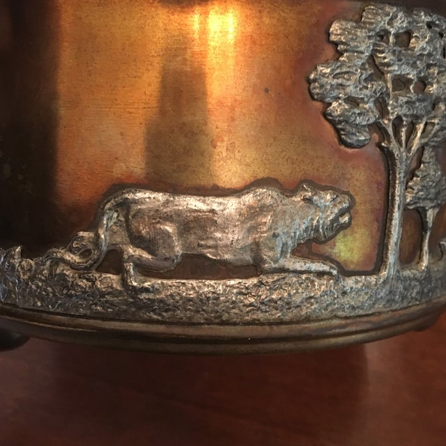 Black African Wildlife Copper and Silverplate Jardinere For Sale - Image 8 of 9