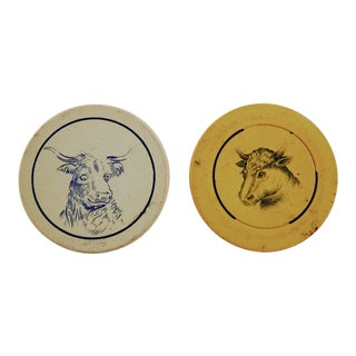 Antique Clay Poker Chips Longhorn & Steer - Set 2 For Sale