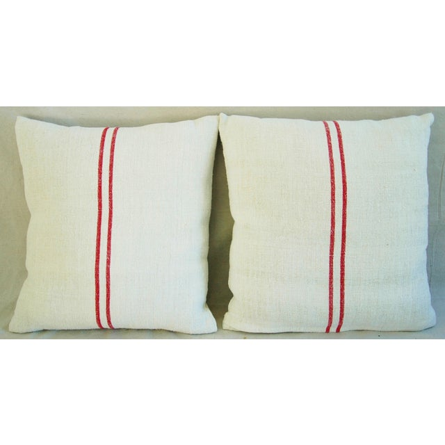 Belgian French Red Striped Grain Sack Down/Feather Pillows - Pair For Sale - Image 3 of 10