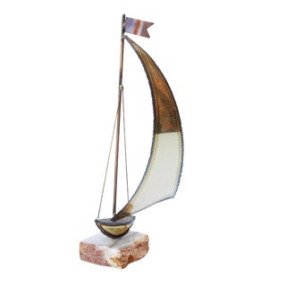 Alabaster-Mounted Torch Cut Sailboat