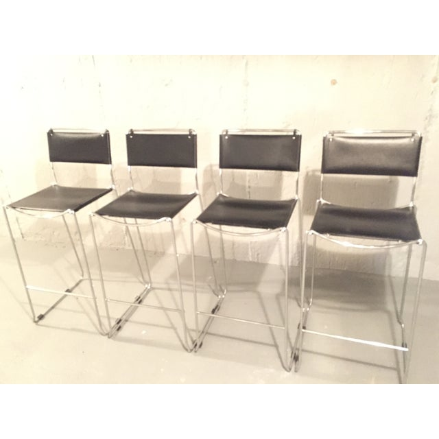 Design Within Reach Italian Leather Chrome Bar Stools - Set of 4 - Image 3 of 4
