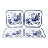 Image of Vintage Blue and White Square Tin Trays - Set of 4 For Sale