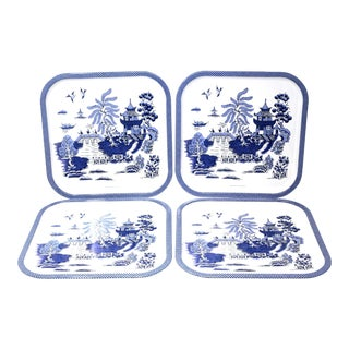 Vintage Blue and White Square Tin Trays - Set of 4 For Sale