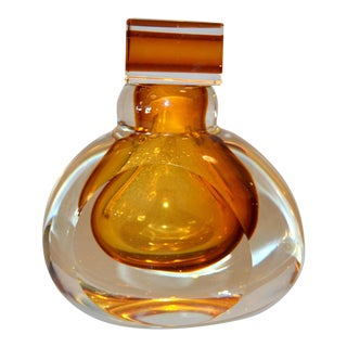 Vintage Clear & Amber Controlled Bubbles Murano Art Glass Perfume Bottle Italy For Sale