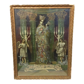 Antique Victorian Gothic Italian Hand Colored Religious Etching For Sale