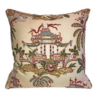 Thibaut Tea House Linen Chinoiserie Down Feather Pillow For Sale