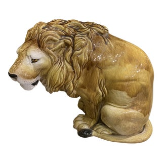 Vintage Italian Terra Cotta Lion For Sale
