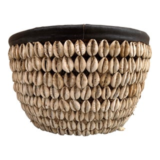 "Vintage Nigerian ""Cowry"" Shell Basket For Sale"