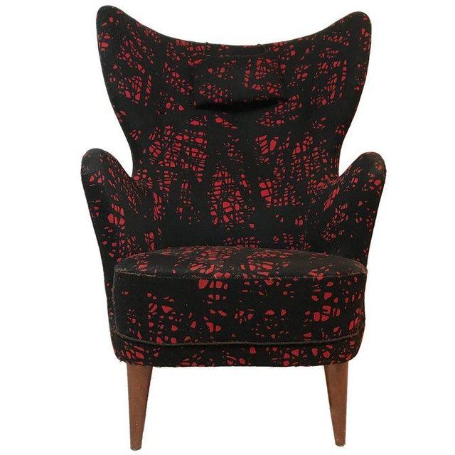 Danish Modern Danish Modern Mogens Lassen-Style Black & Red Wool Easy Chair For Sale - Image 3 of 8