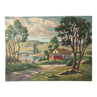 "Vintage Paint by Number Landscape ""House on Pond in Countryside"""