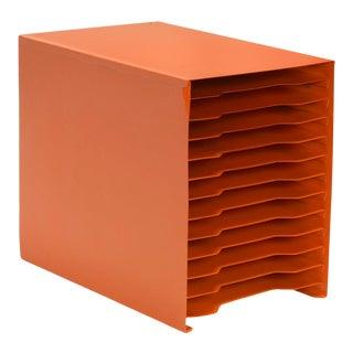 Mid Century 12 Slot Desktop File Holder, Large, Refinished in Tangerine For Sale