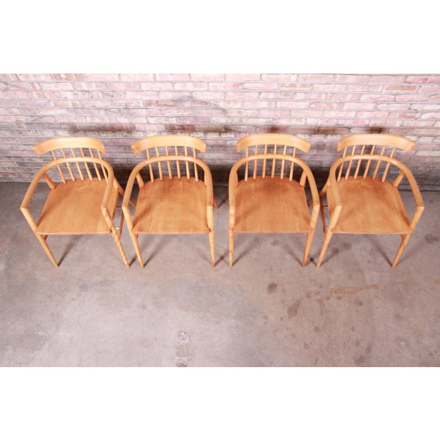 Wood Paul McCobb Planner Group Solid Maple Spindle Back Armchairs - Set of 4 For Sale - Image 7 of 13