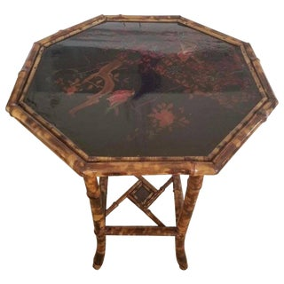 20th Century Antique Chinoiserie Scorched Bamboo Side Table For Sale