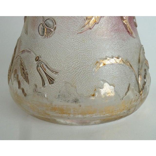 1900s Art Nouveau Czech Cranberry & Gold Flash Glass Pitcher For Sale - Image 6 of 8