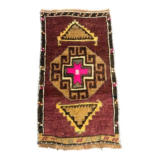 Aztec Decorative Turkish Handmade Antique Small Rug 1′4″ × 2′5″ For Sale