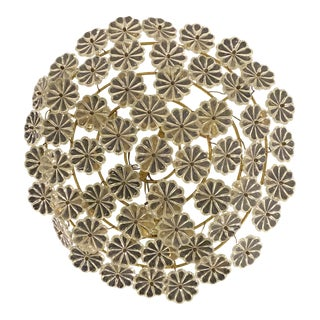 French Glass Flower Light Fixture For Sale